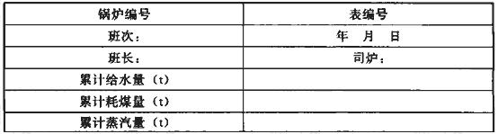 表A.0.3 燃煤蒸汽锅炉运行记录