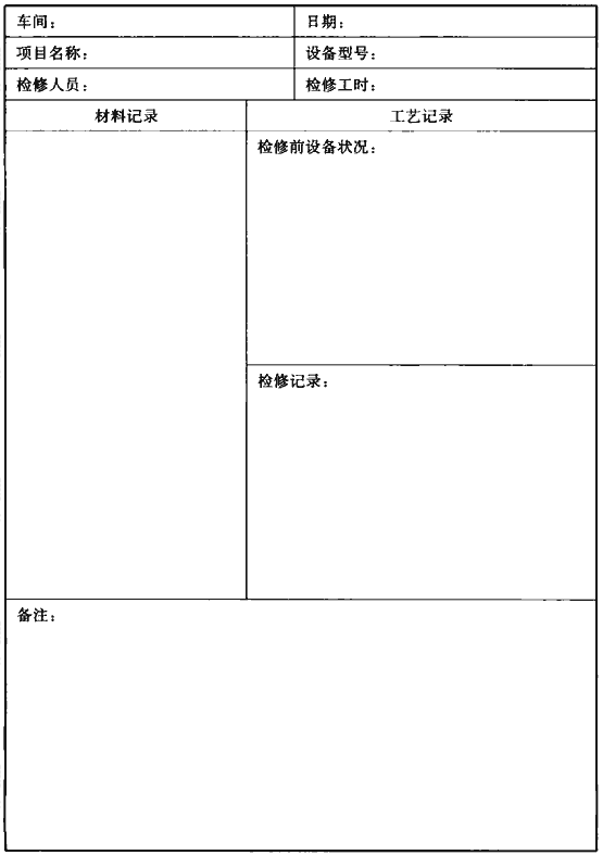 表A.0.13 设备检修记录