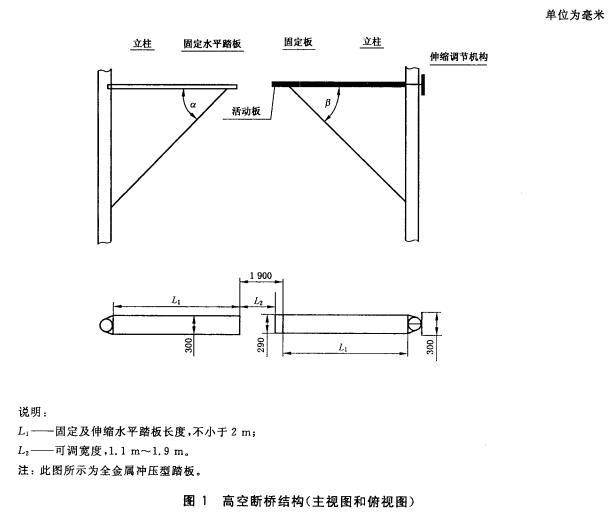 高空断桥结构(主视图和俯视图)