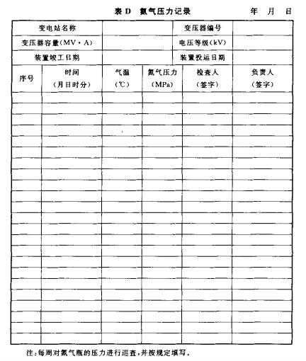 氮气压力记录表