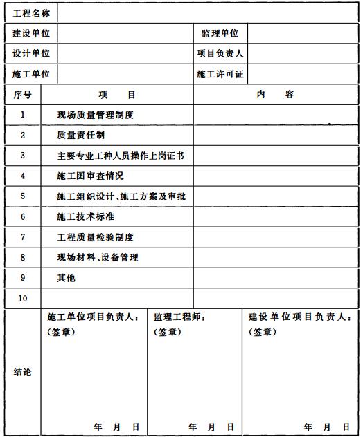 表 B 施工现场质量管理检查记录