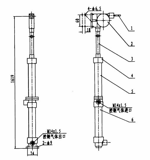 4.3.2 瓶头阀气动开启装置的结构型式和基本尺寸如图6所示.图片