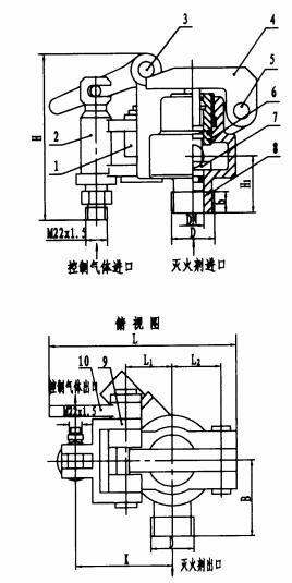 图8 A型螺纹连接气控施放阀