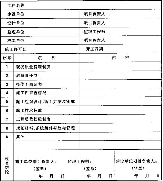 表B.0.1 施工现场质量管理检查记录