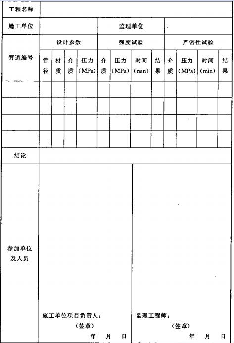 表B.0.2-4 管道试压记录