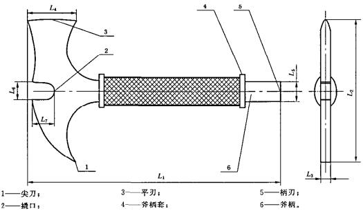 图1 消防腰斧的外形示意图