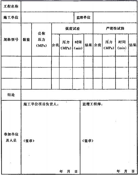 表D.0.2 阀门的强度和严密性试验记录