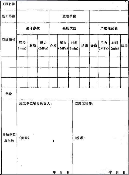 表D.0.4 系统施工过程中的管道试压记录