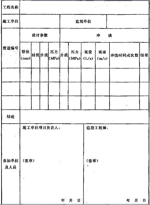 表D.0.5 系统施工过程中的管道冲洗记录