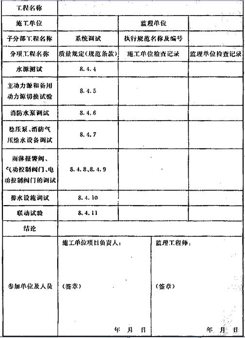 表D.0.6 系统施工过程中的调试检查记录