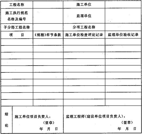 表D.0.1 大空间智能型主动喷水灭火系统施工过程质量检查记录