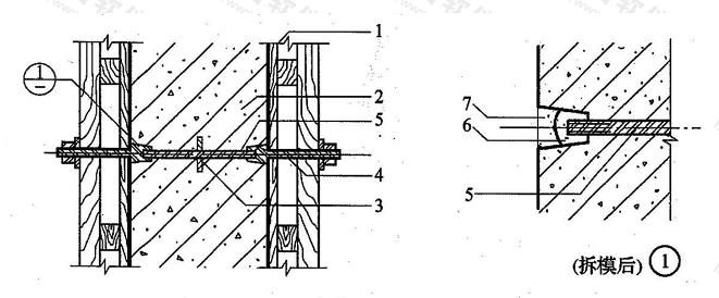 图4.1.28 固定模板用螺栓的防水构造