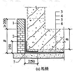 图4.3.23 卷材防水层甩槎、接槎构造(a)甩槎