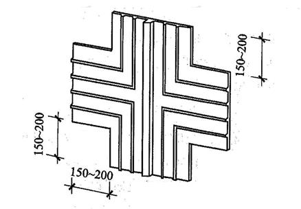 图5.1.12-1 外贴式止水带在施工缝与变形缝相交处的十字配件