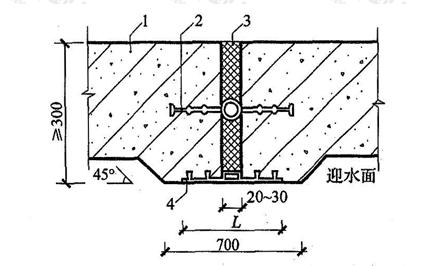 图5.1.6-1 中埋式止水带与外贴防水层复合使用