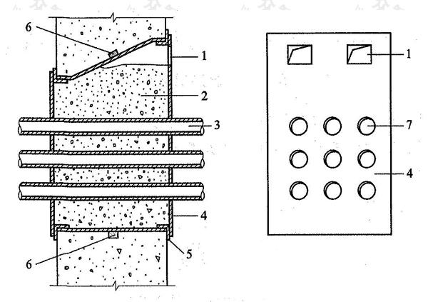 图5.3.6 穿墙群管防水构造