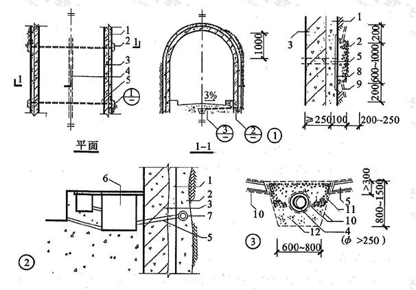图6.2.12 贴壁式衬砌排水构造