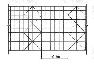 图6.6.3 高度24m以下剪刀撑布置