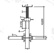 图6.1.5 带可调托座伸出顶层水平杆的悬臂长度