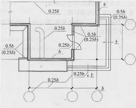图2.1.1-1 平面图图线宽度选用示例