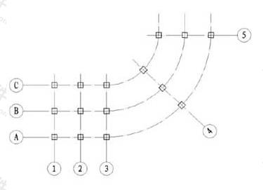 图8.0.9-2 弧形平面定位轴线的编号