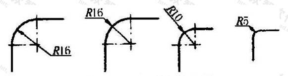 图11.4.2 小圆弧半径的标注方法