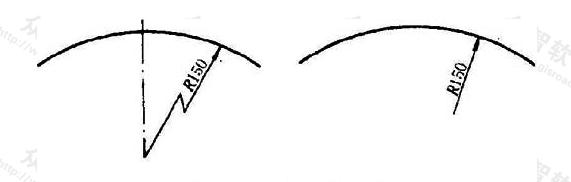 图11.4.3 大圆弧半径的标注方法