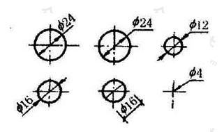 图11.4.5 小圆直径的标注方法