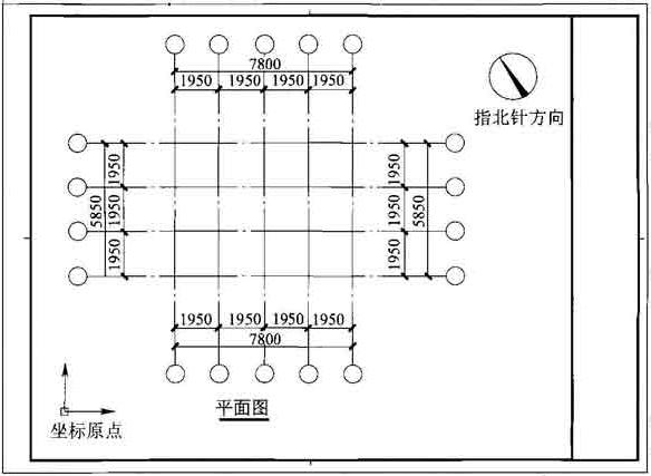 图14.0.1-1 正交平面图制图方向与指北针方向示意