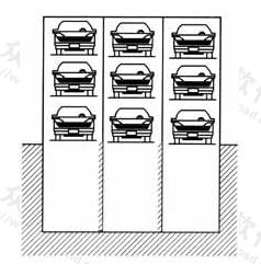 图3.3.1 三组垂直升降式简易升降类停车设备并联