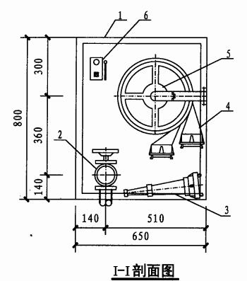 甲型单栓室内消火栓箱(I-I)剖面图