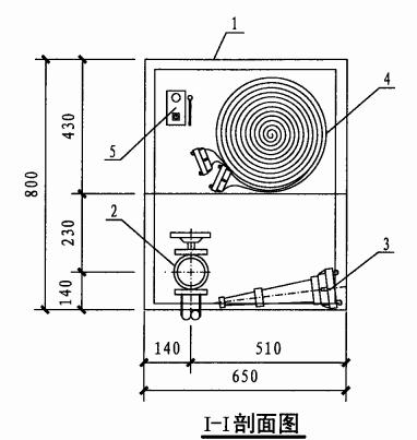 乙型单栓室内消火栓箱(I-I剖面图)