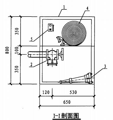 丙型单栓室内消火栓箱(I-I剖面图)