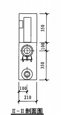 丙型单栓室内消火栓箱(II-II剖面图)