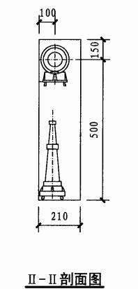 丁型单栓室内消火栓箱(II-II剖面图)