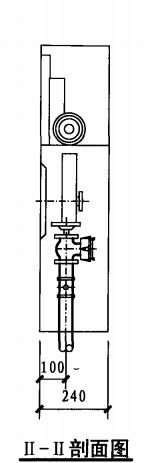 单栓带轻便消防水龙室内消火栓箱(II-II剖面图)
