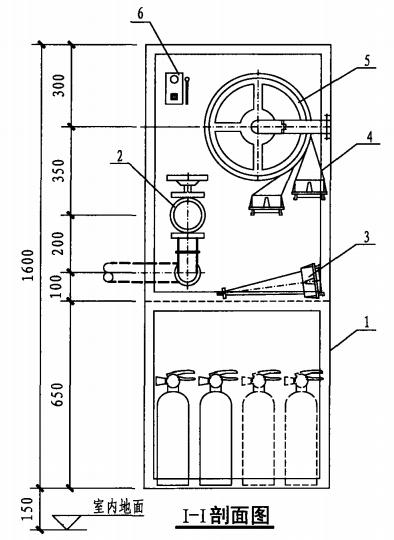 甲型单栓带灭火器箱组合式消防柜(I-I剖面图)