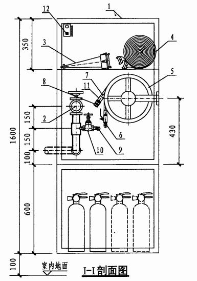 单栓带轻便消防水龙组合式消防柜(I-I剖面图)