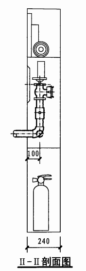 单栓带轻便消防水龙组合式消防柜(II-II剖面图)