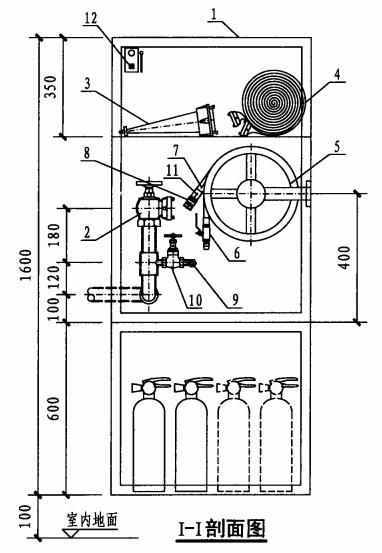 薄型单栓带轻便消防水龙组合式消防柜(I-I剖面图)