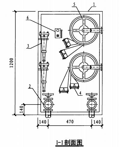 乙型双栓室内消火栓箱(I-I剖面图)
