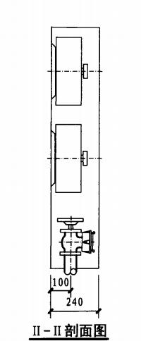 乙型双栓室内消火栓箱(II-II剖面图)