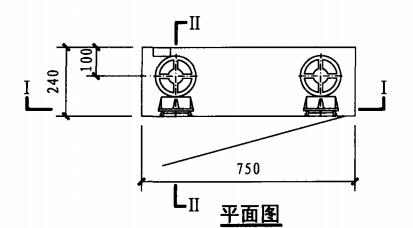 乙型双栓室内消火栓箱(平面图)