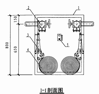 丙型双栓室内消火栓箱(I-I剖面图)