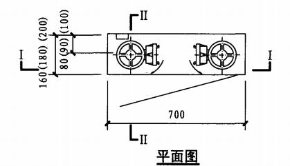 薄型双栓室内消火栓箱(平面图)