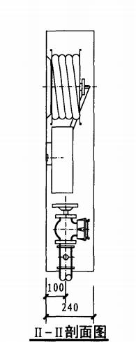 双栓带消防软管卷盘消火栓箱(II-II剖面图)