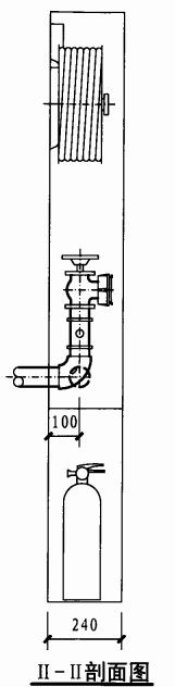 乙型双栓带灭火器箱组合式消防柜(II-II剖面图)