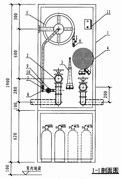 乙型双栓带灭火器箱组合式消防柜(I-I剖面图)