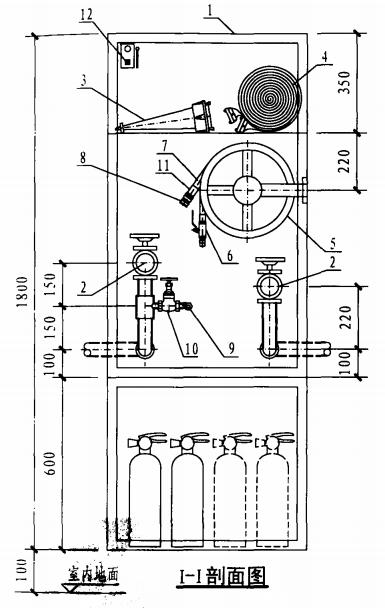 双栓带轻便消防水龙组合式消防柜(I-I剖面图)
