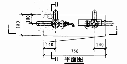 薄型双栓带轻便消防水龙组合式消防柜(平面图)